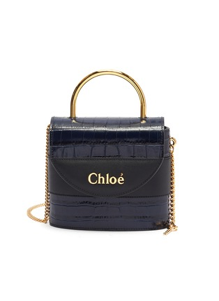 Main View - Click To Enlarge - CHLOÉ - 'Abylock' croc embossed leather handle bag