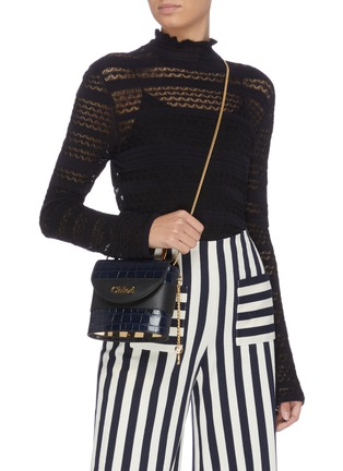 Figure View - Click To Enlarge - CHLOÉ - 'Abylock' croc embossed leather handle bag