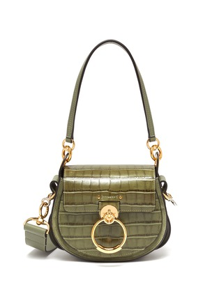 Main View - Click To Enlarge - CHLOÉ - 'Tess' ring small croc embossed leather saddle bag