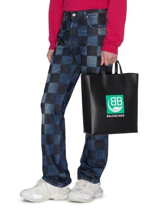 Figure View - Click To Enlarge - BALENCIAGA - Logo print medium market tote bag