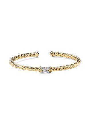 Main View - Click To Enlarge - DAVID YURMAN - 'X Cablespira' diamond 18k yellow gold cuff