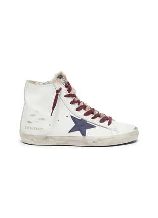 Main View - Click To Enlarge - GOLDEN GOOSE - 'Francy' fur tongue contrast laces star print sneakers