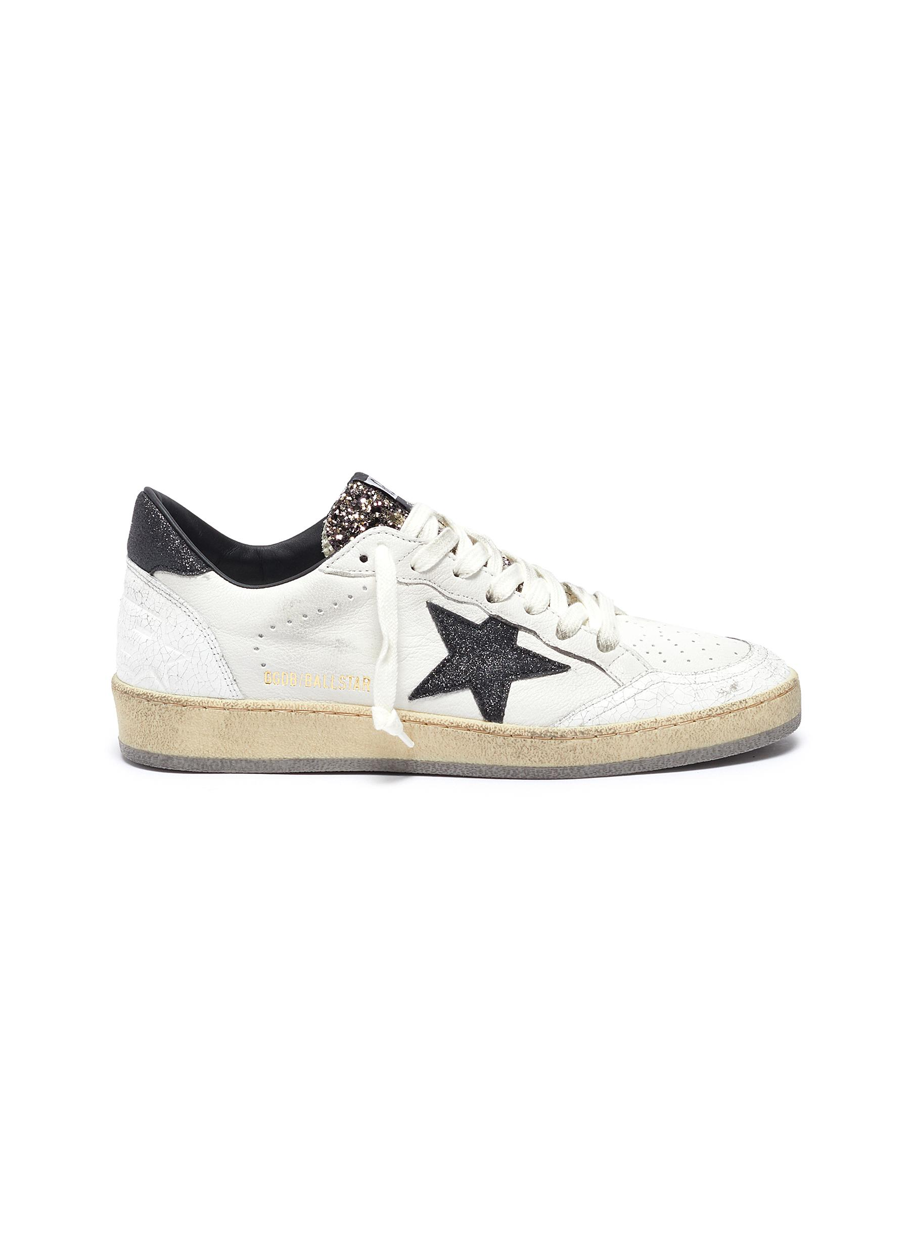 Superstar glitter collar leather sneakers by Golden Goose