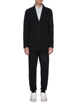 Main View - Click To Enlarge - THOM BROWNE - Grosgrain trim stripe jersey suit