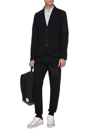 Figure View - Click To Enlarge - THOM BROWNE - Grosgrain trim stripe jersey suit