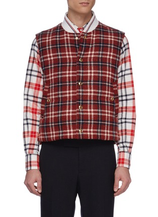 Main View - Click To Enlarge - THOM BROWNE - Down filled tartan plaid snap front vest