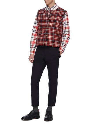 Figure View - Click To Enlarge - THOM BROWNE - Down filled tartan plaid snap front vest