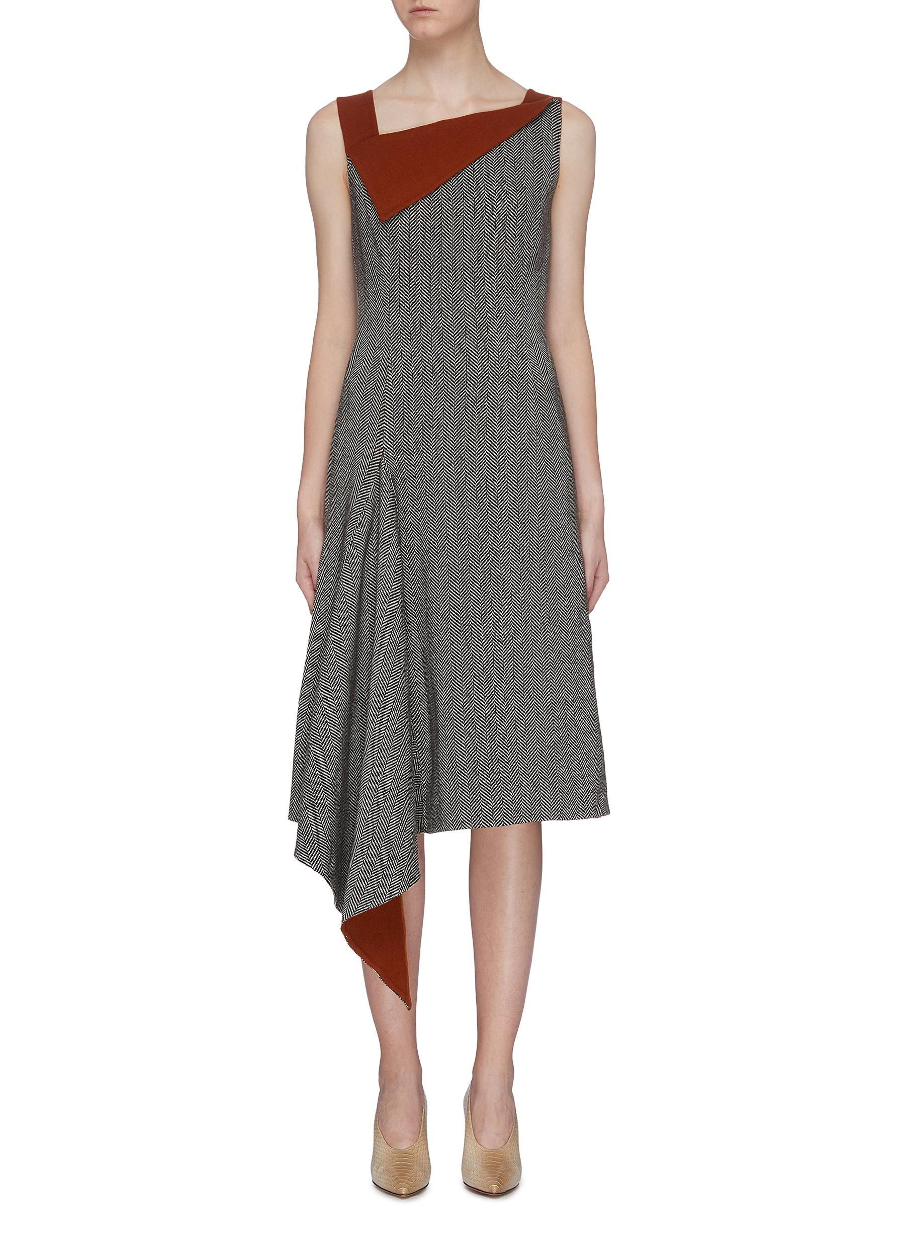 Folded collar drape panel hem herringbone dress by Oscar De La Renta