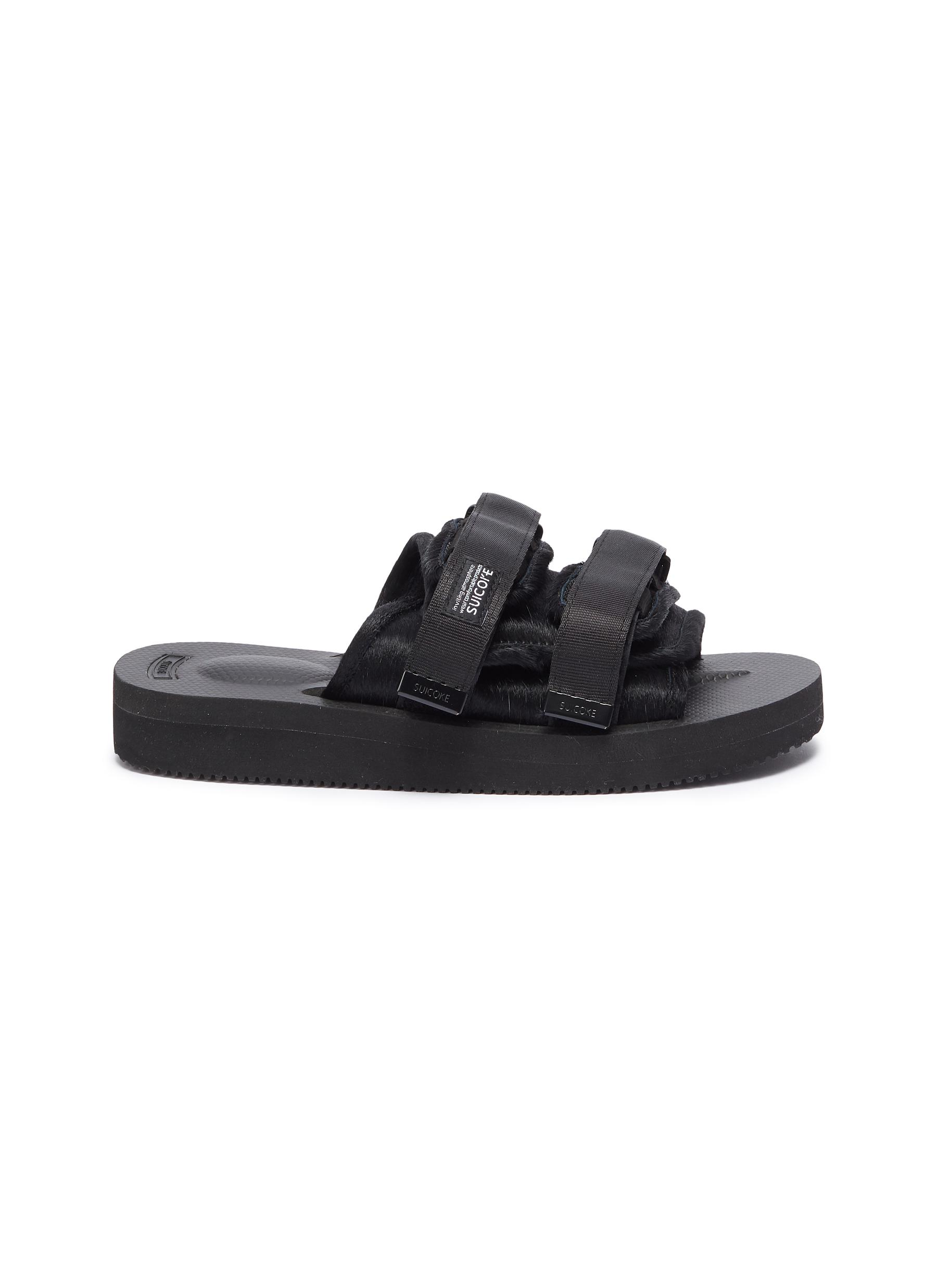 MOTO-VHL strappy band calf hair slide sandals by Suicoke
