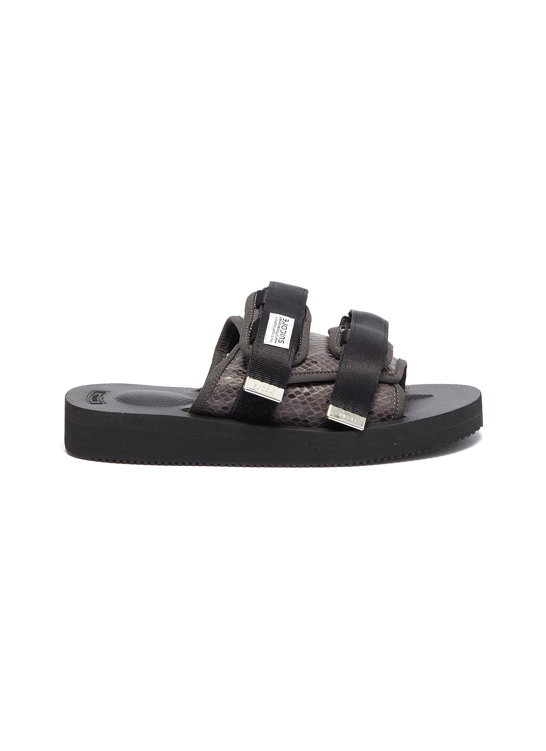 MOTO-VS strappy band faux python embossed leather slide sandals by Suicoke