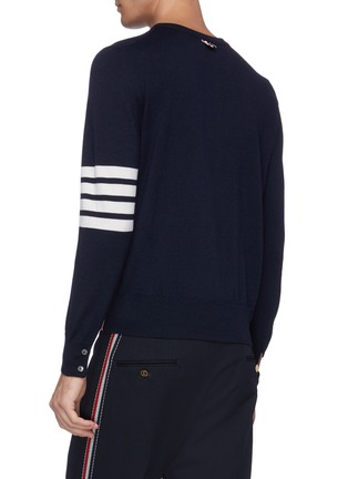 Back View - Click To Enlarge - THOM BROWNE - Trompe l'oeil suit print stripe sleeve sweater