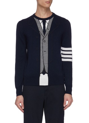 Main View - Click To Enlarge - THOM BROWNE - Trompe l'oeil suit print stripe sleeve sweater