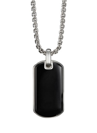 Main View - Click To Enlarge - DAVID YURMAN - 'Streamline' onyx silver dog tag pendant