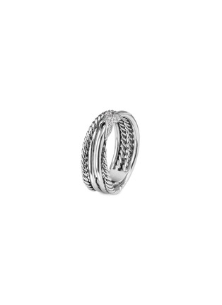 Main View - Click To Enlarge - DAVID YURMAN - 'X' diamond silver crossover ring