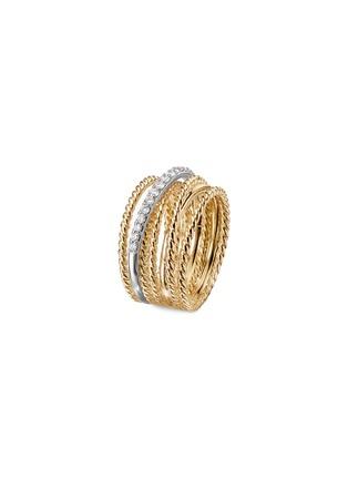 Main View - Click To Enlarge - DAVID YURMAN - Diamond 18k yellow gold multi row crossover wide band ring