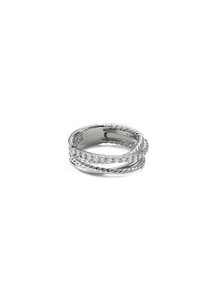 Main View - Click To Enlarge - DAVID YURMAN - Diamond silver multi row crossover ring