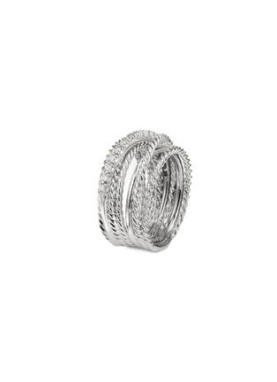 Main View - Click To Enlarge - DAVID YURMAN - Diamond silver multi row crossover wide band ring