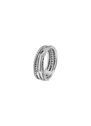 Main View - Click To Enlarge - DAVID YURMAN - 'X' diamond silver crossover ring