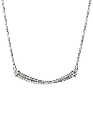 David Yurman Diamond Silver Crossover Bar Pendant