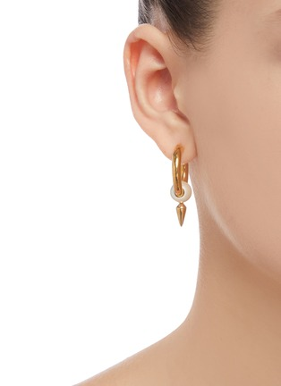Figure View - Click To Enlarge - BALENCIAGA - 'Force Spike' faux pearl embellished hoop earrings