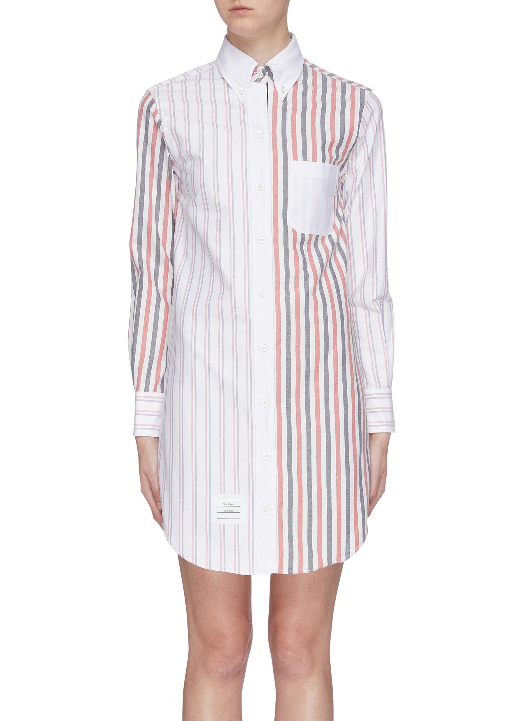 Stripe panel shirt dress by Thom Browne