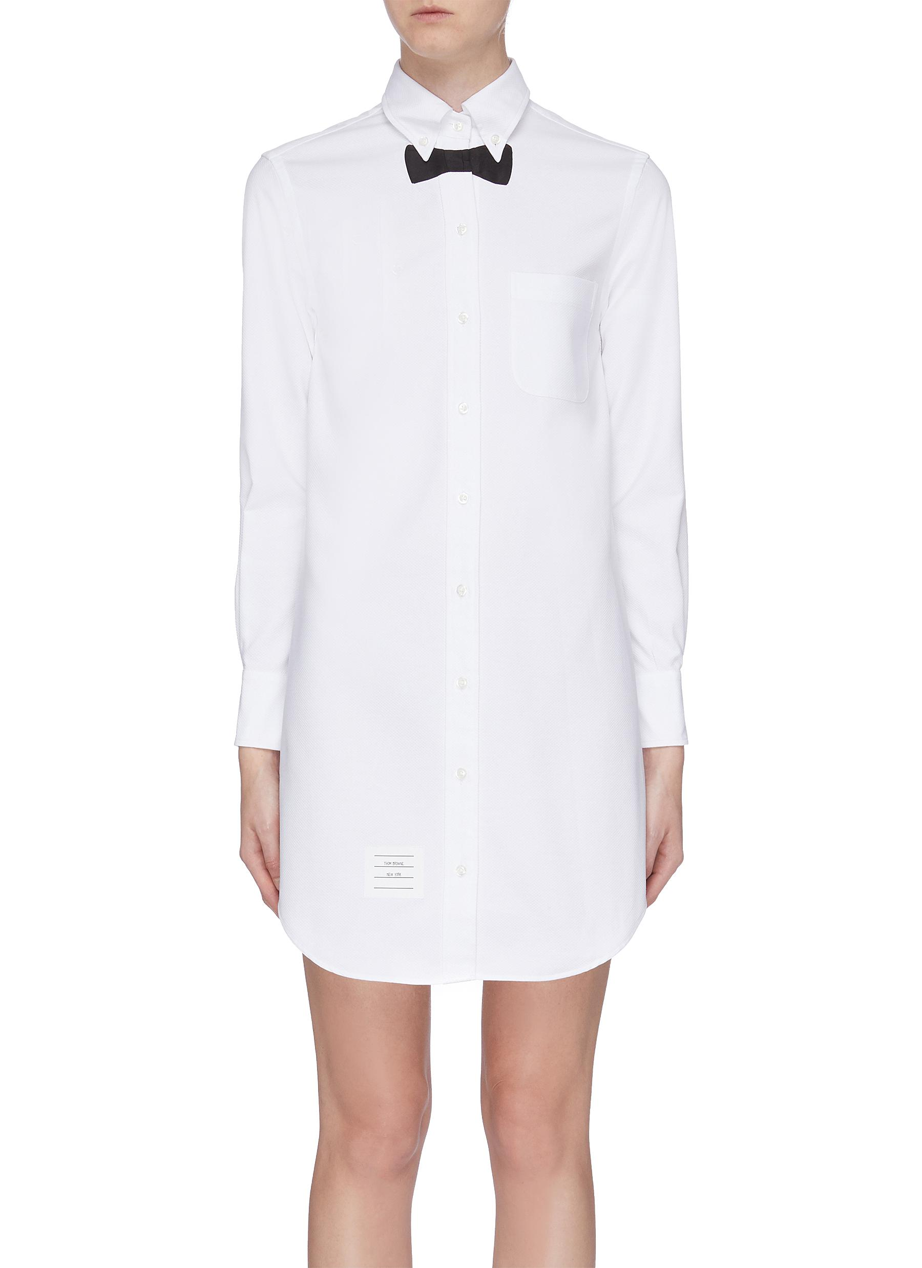 Trompe lail bow tie shirt dress by Thom Browne