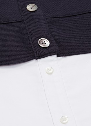 - THOM BROWNE - Stripe sleeve V-neck cardigan