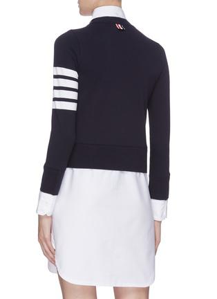 Back View - Click To Enlarge - THOM BROWNE - Stripe sleeve V-neck cardigan