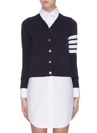 Main View - Click To Enlarge - THOM BROWNE - Stripe sleeve V-neck cardigan
