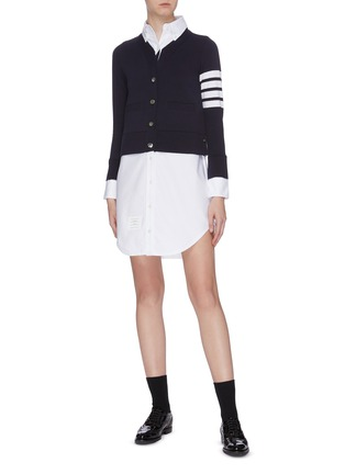Figure View - Click To Enlarge - THOM BROWNE - Stripe sleeve V-neck cardigan