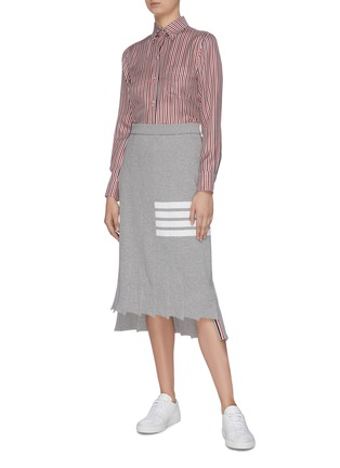 Figure View - Click To Enlarge - THOM BROWNE - 'Tromp L'oeil' stripe drop back pleated skirt