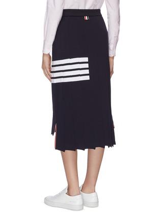 Back View - Click To Enlarge - THOM BROWNE - 'Tromp L'oeil' stripe drop back pleated skirt