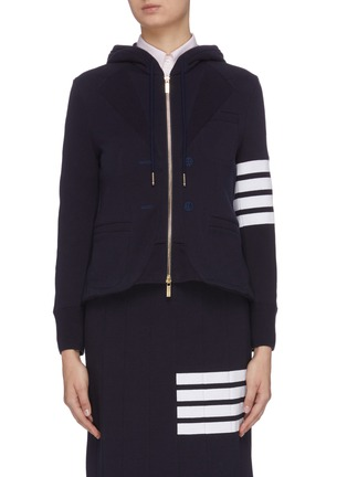 Main View - Click To Enlarge - THOM BROWNE - 4 bar print blazer front zip-up hoodie