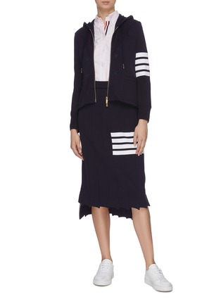 Figure View - Click To Enlarge - THOM BROWNE - 4 bar print blazer front zip-up hoodie