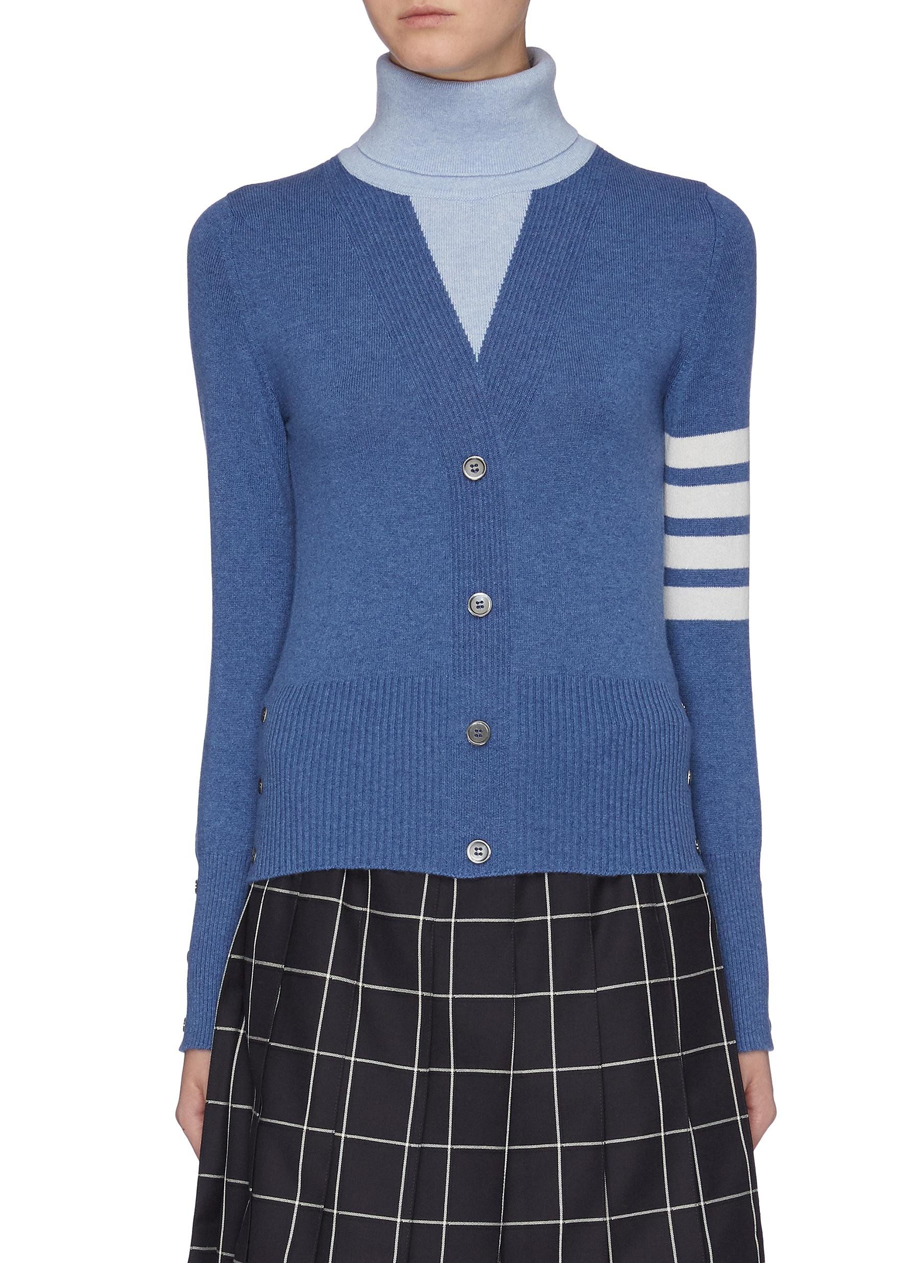 Stripe sleeve trompe lail colourblock cashmere turtleneck sweater by Thom Browne
