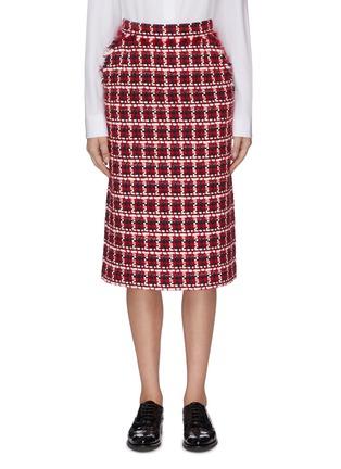 Main View - Click To Enlarge - THOM BROWNE - Gunclub check frayed pencil skirt