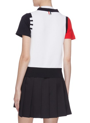 Back View - Click To Enlarge - THOM BROWNE - Colourblock button T-shirt