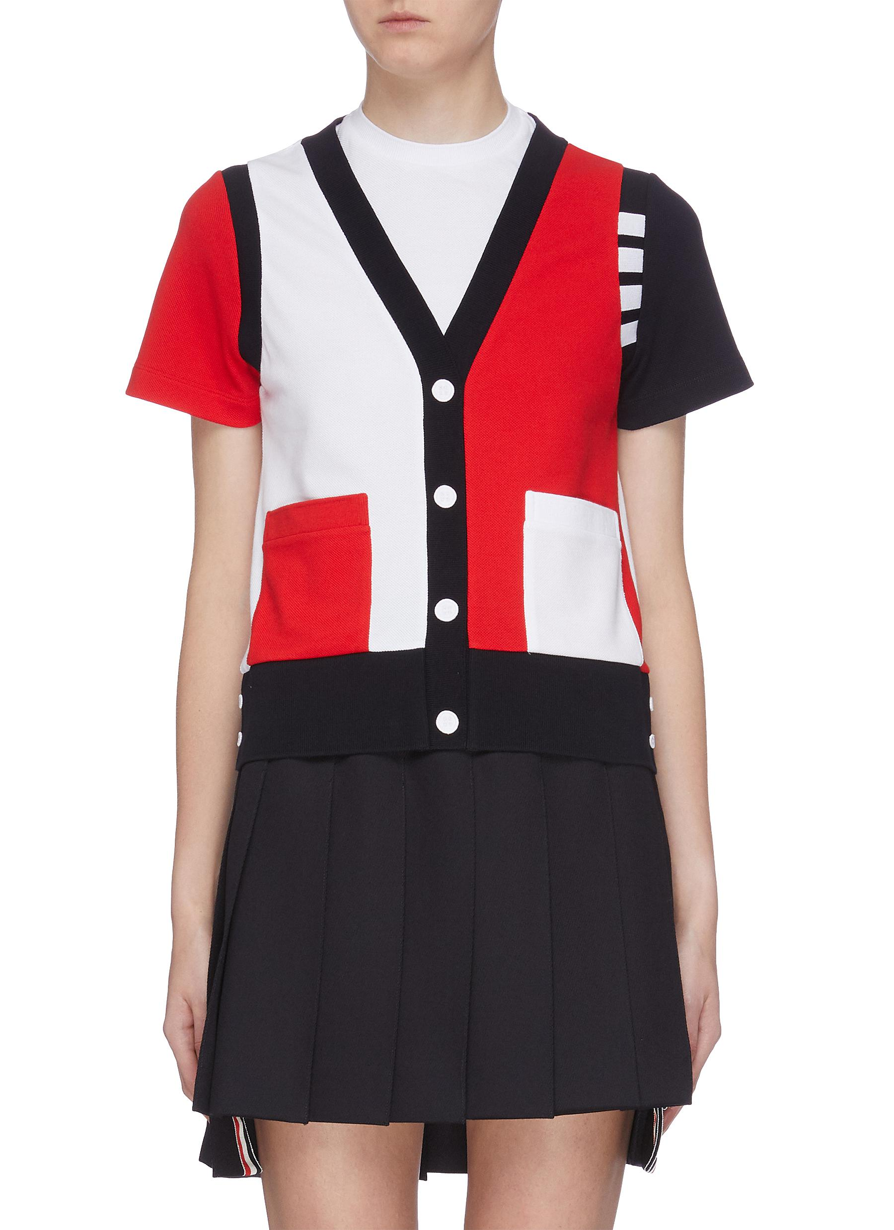 Colourblock button T-shirt by Thom Browne