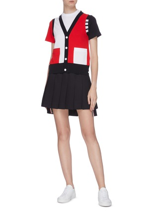 Figure View - Click To Enlarge - THOM BROWNE - Colourblock button T-shirt