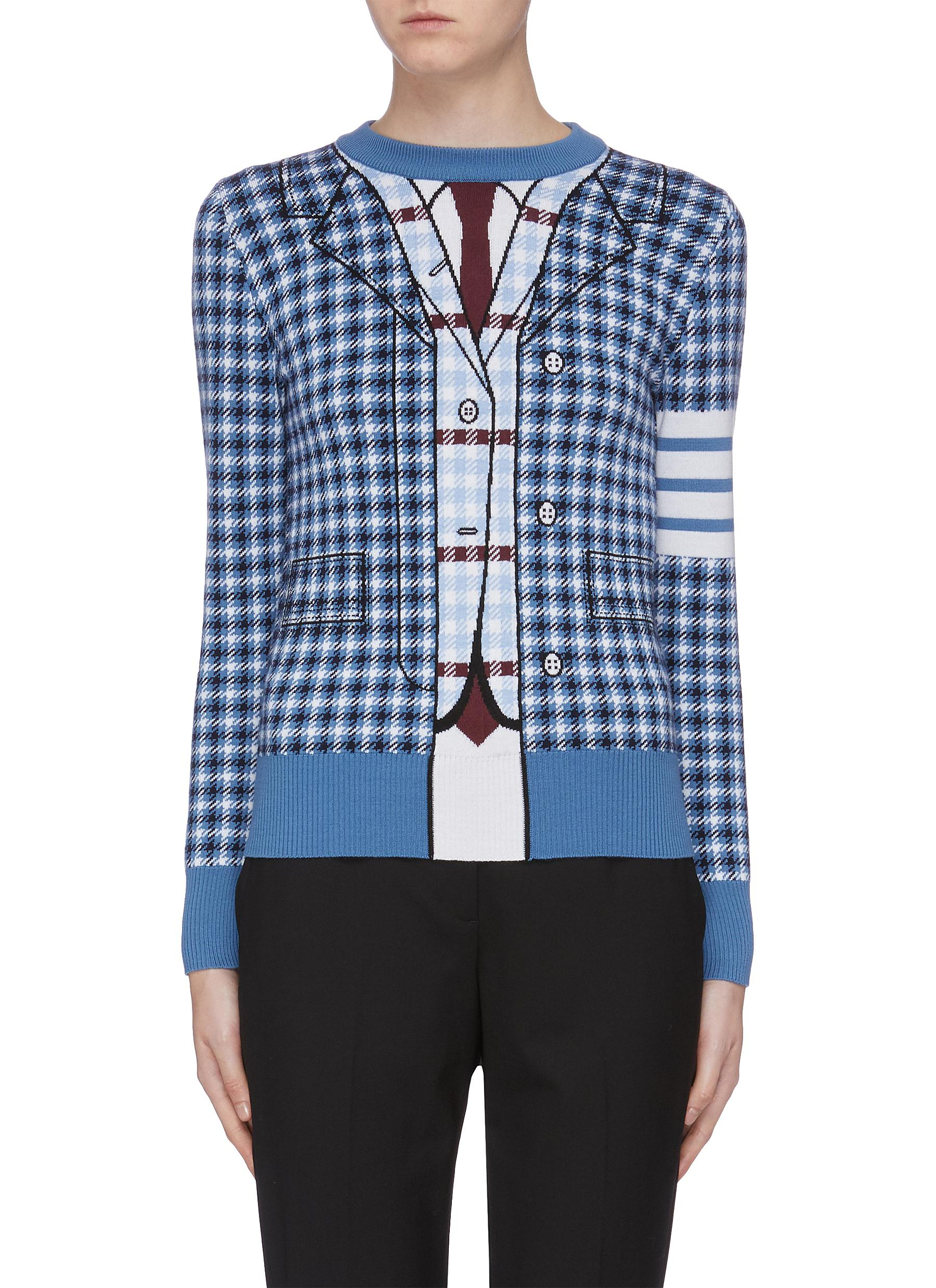 Trompe lail check plaid sweater by Thom Browne