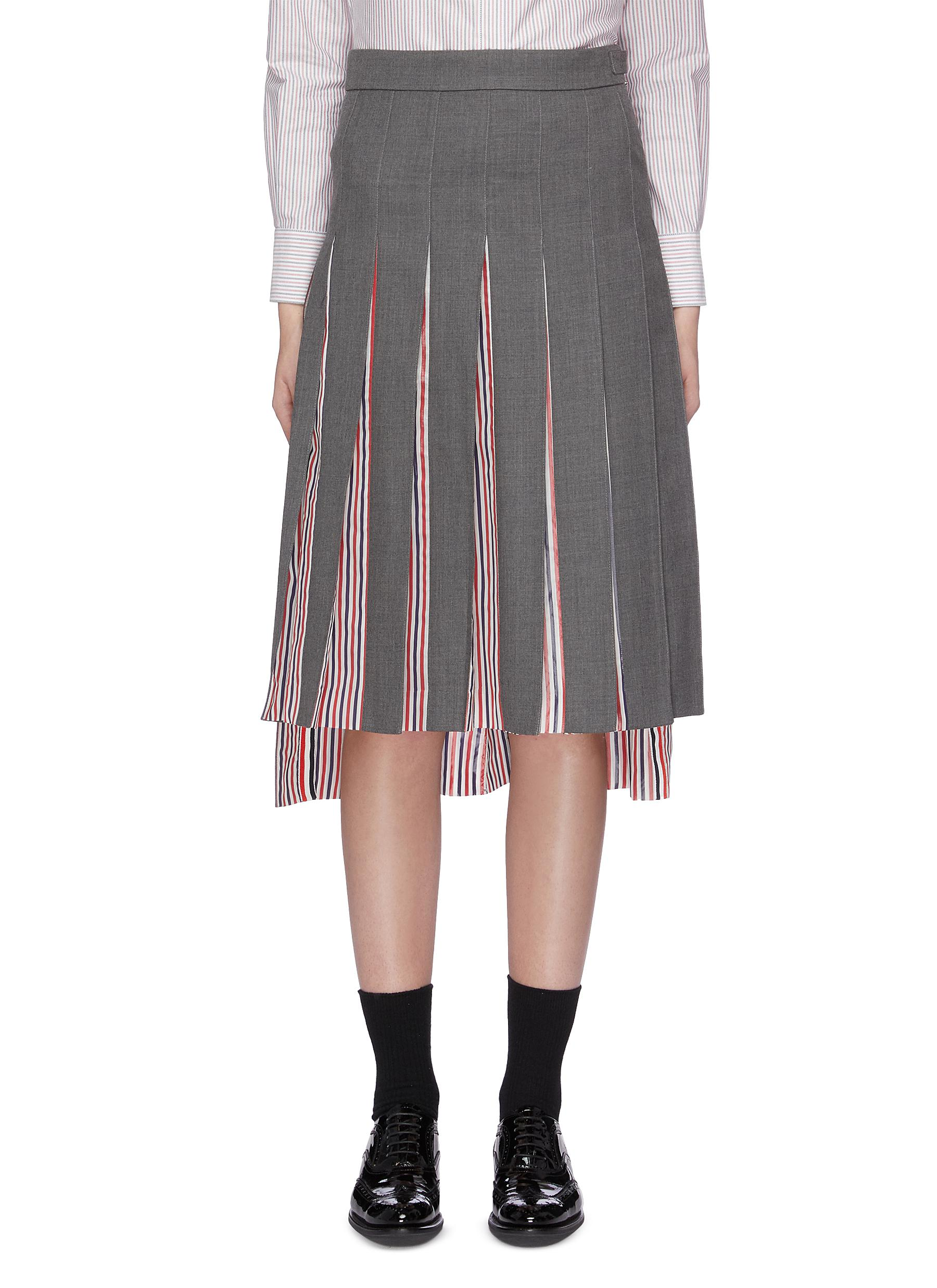 Stripe underlay pleated high-low skirt by Thom Browne