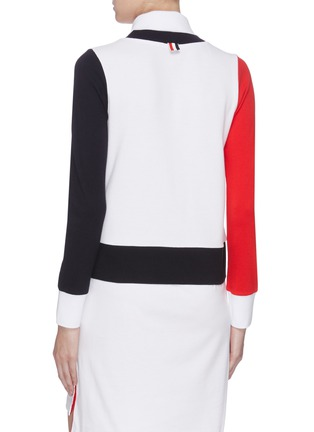 Back View - Click To Enlarge - THOM BROWNE - Trompe d'œil colourblock button polo dress
