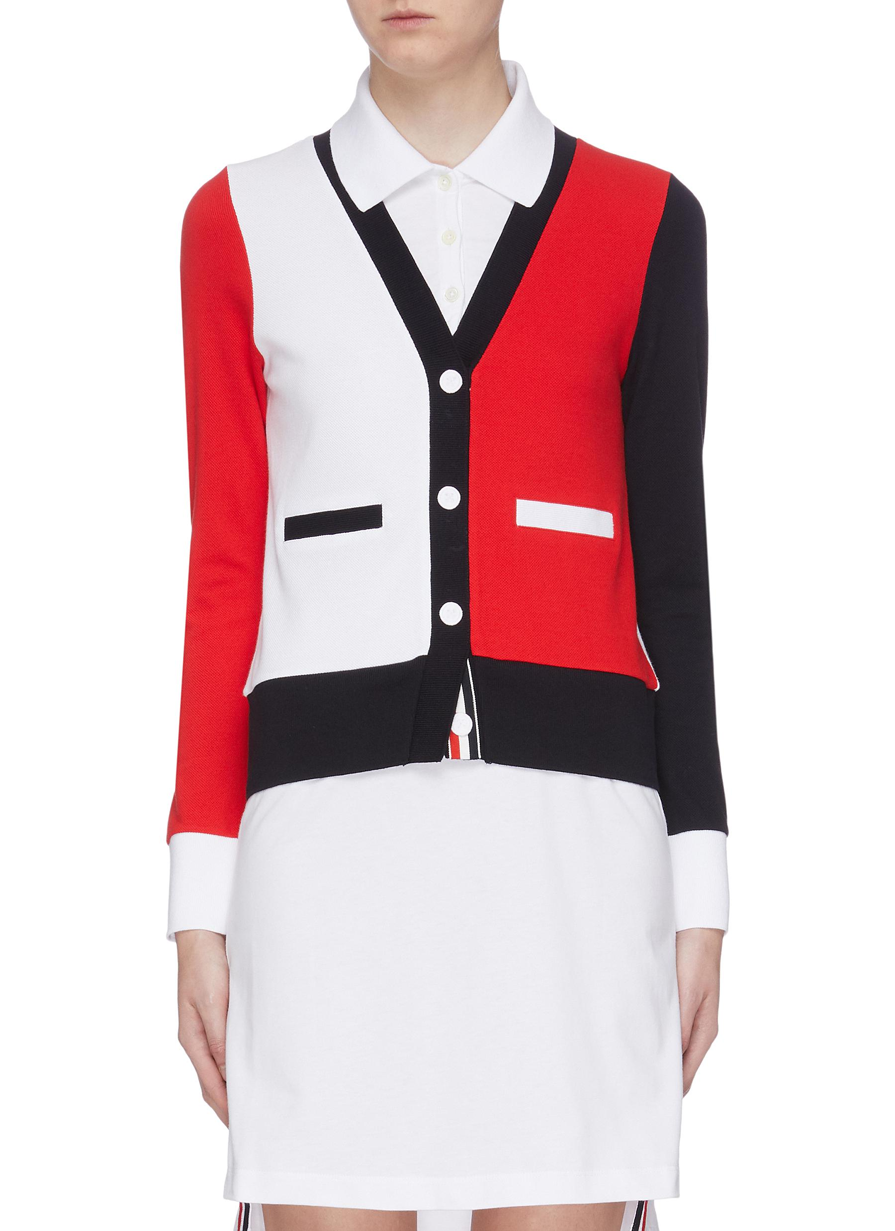 Trompe dail colourblock button polo dress by Thom Browne