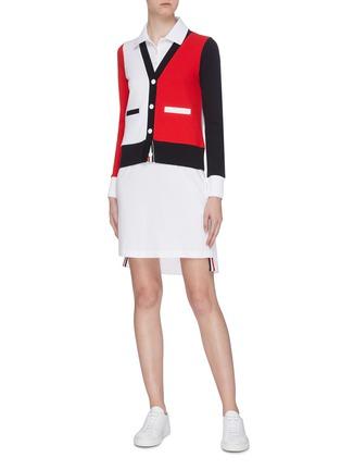 Figure View - Click To Enlarge - THOM BROWNE - Trompe d'œil colourblock button polo dress