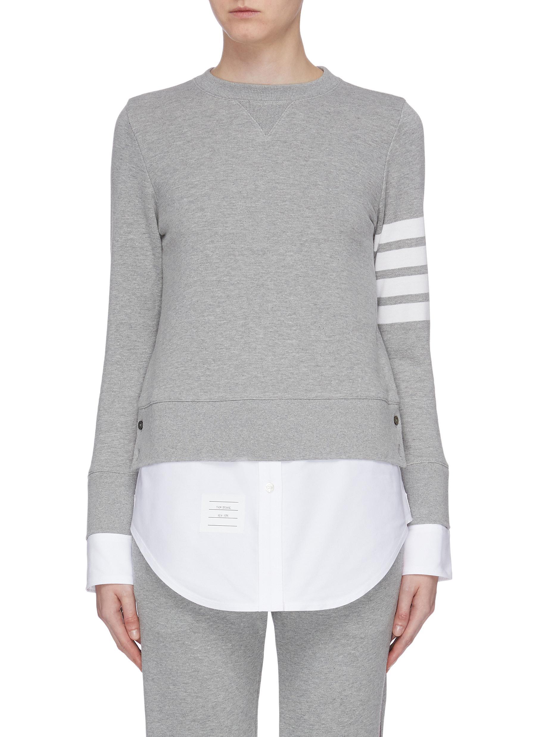 Buy Thom Browne Tops Stripe sleeve cotton sweatshirt