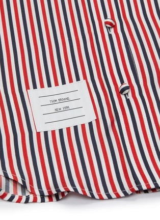 - THOM BROWNE - Colourblocked logo patch pinstripe shirt