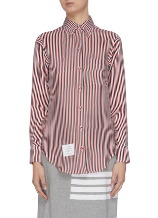 Main View - Click To Enlarge - THOM BROWNE - Colourblocked logo patch pinstripe shirt