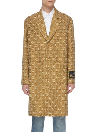 Main View - Click To Enlarge - GUCCI - GG logo embroidered knit nightgown coat