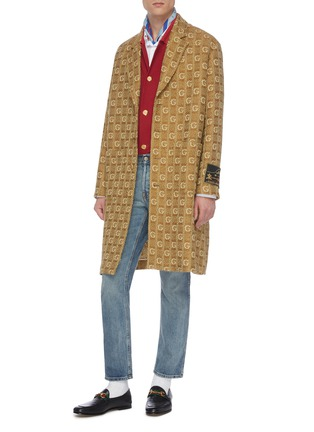 Figure View - Click To Enlarge - GUCCI - GG logo embroidered knit nightgown coat