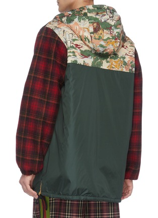 Back View - Click To Enlarge - GUCCI - 'Eco' print check plaid panelled parka